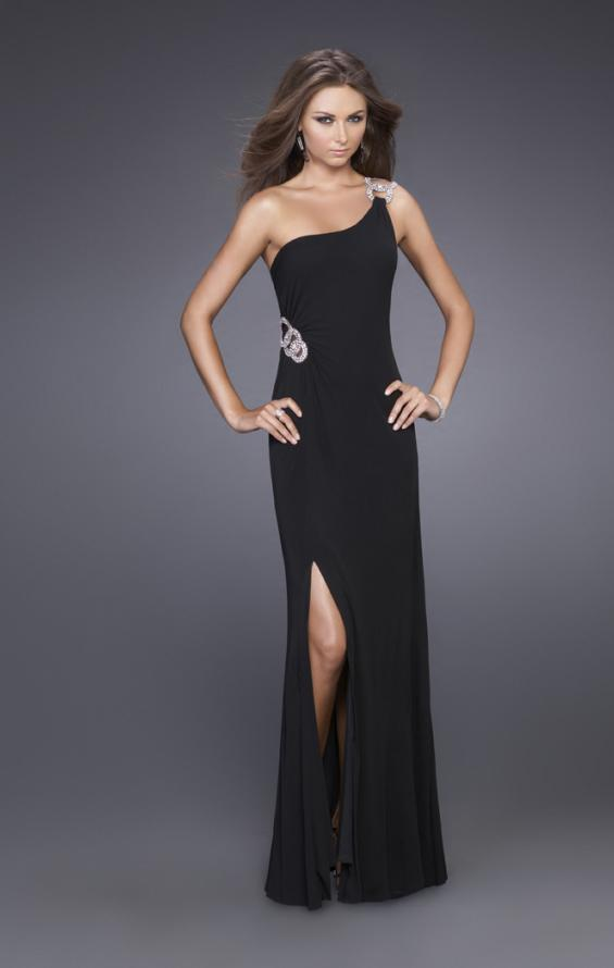 Picture of: Jersey One Shoulder Prom Gown with Embellishments in Black, Style: 14851, Main Picture