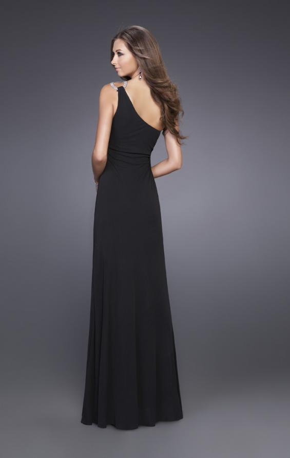 Picture of: Jersey One Shoulder Prom Gown with Embellishments in Black, Style: 14851, Back Picture