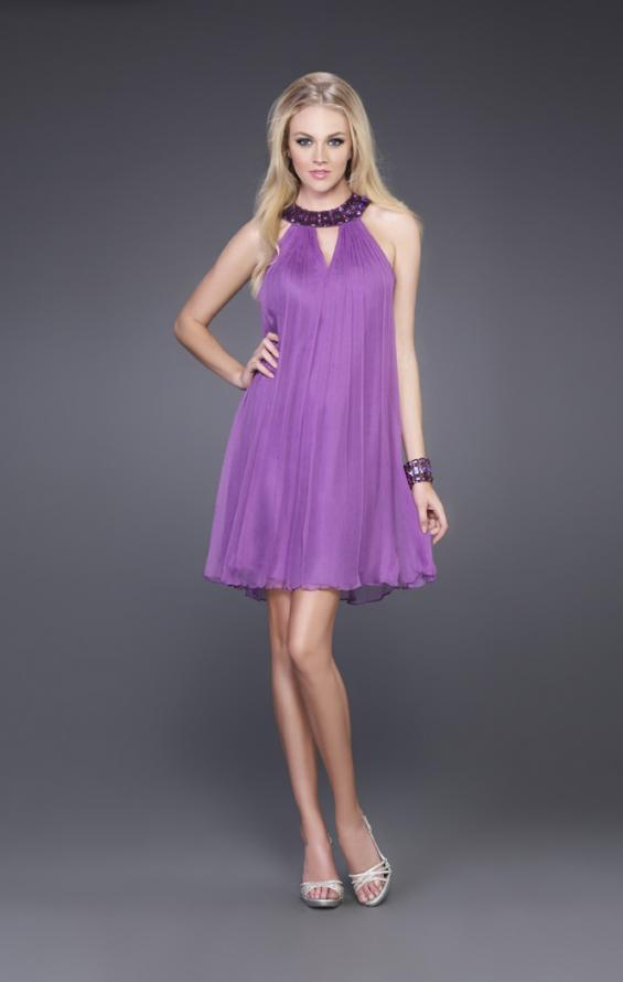 Picture of: Short Baby Doll Dress with Jeweled Neckline in Purple, Style: 14943, Main Picture
