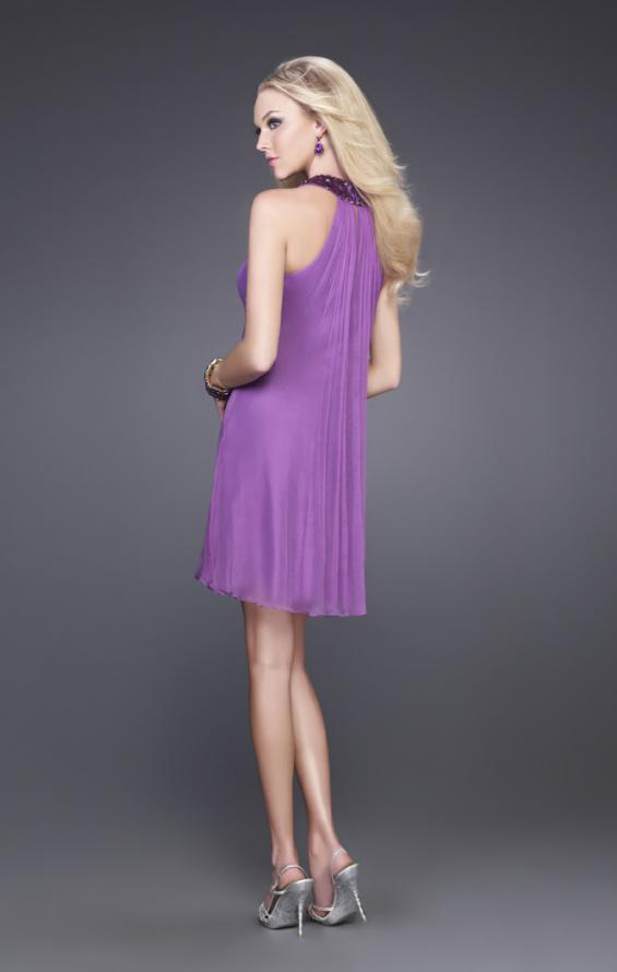 Picture of: Short Baby Doll Dress with Jeweled Neckline in Purple, Style: 14943, Back Picture