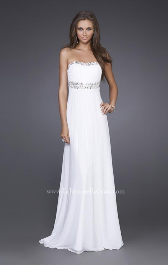Picture of: Long Prom Dress with Ruched Bodice and Beading, Style: 15027, Main Picture