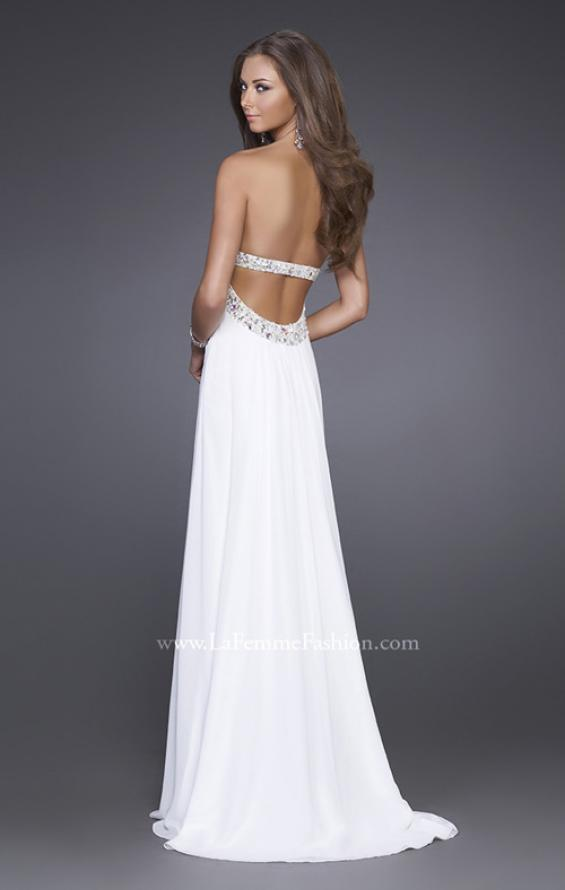 Picture of: Long Prom Dress with Ruched Bodice and Beading, Style: 15027, Back Picture