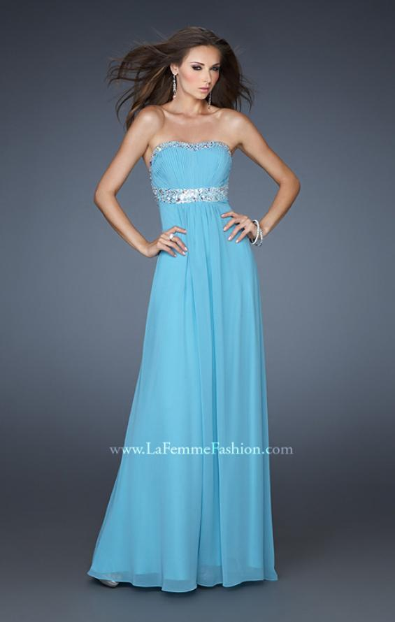 Picture of: Long Prom Dress with Ruched Bodice and Beading, Style: 15027, Detail Picture 1