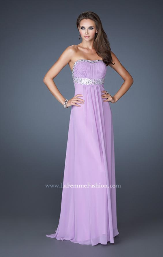 Picture of: Long Prom Dress with Ruched Bodice and Beading, Style: 15027, Detail Picture 2