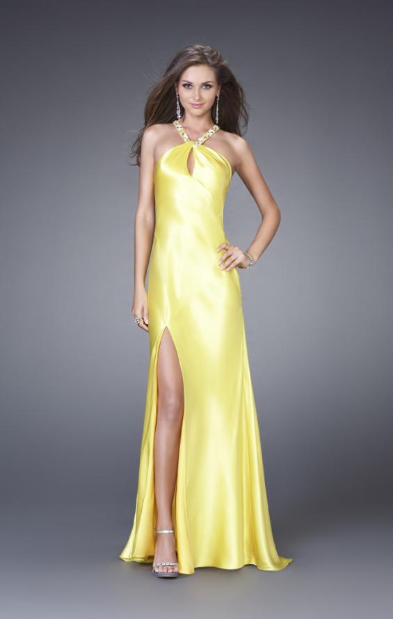 Picture of: Sleek Satin Prom Dress with Beaded Straps and Slit in Yellow, Style: 15061, Main Picture