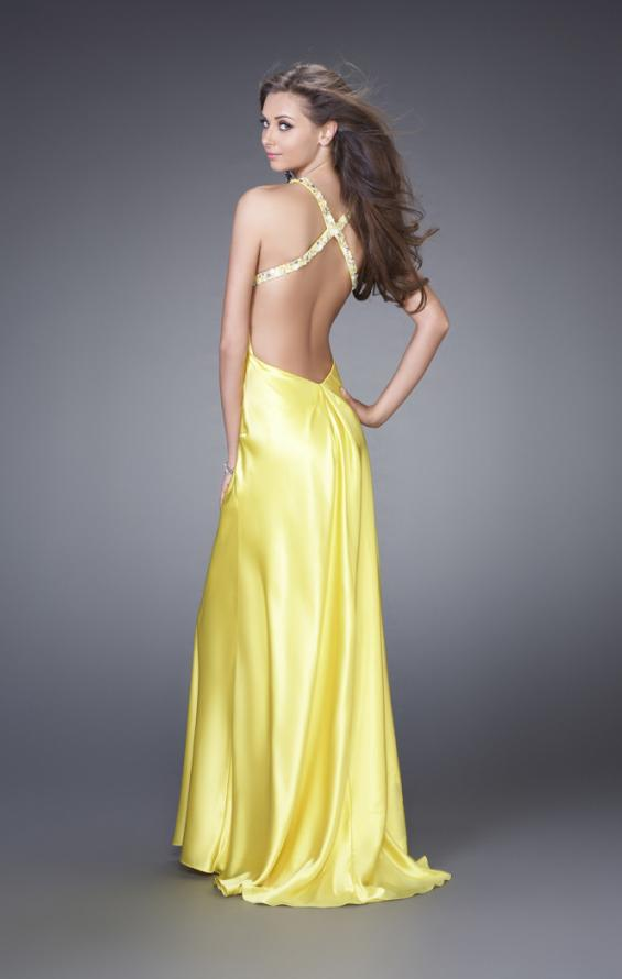 Picture of: Sleek Satin Prom Dress with Beaded Straps and Slit in Yellow, Style: 15061, Back Picture