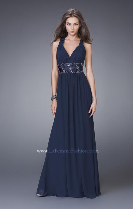 Picture of: Halter Prom Gown with Gathered Waist and X Back in Navy, Style: 15064, Main Picture