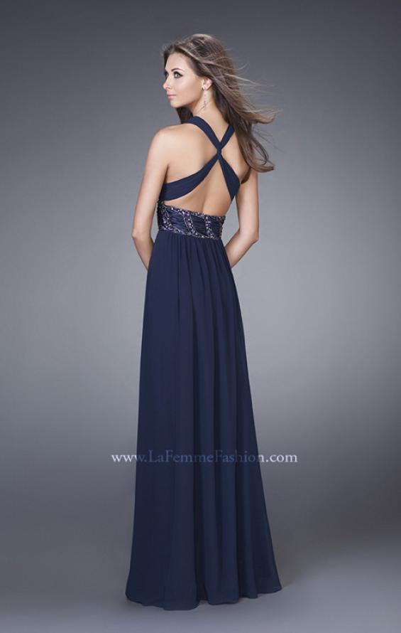 Picture of: Halter Prom Gown with Gathered Waist and X Back in Navy, Style: 15064, Back Picture