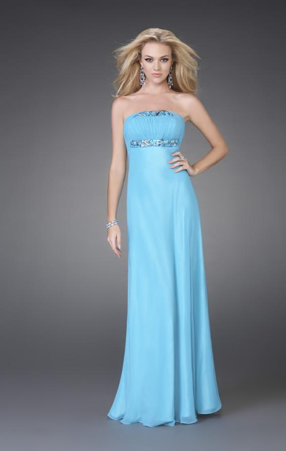 Picture of: Strapless Prom Gown with Cluster Beading and Cut Outs in Aqua, Style: 15081, Main Picture