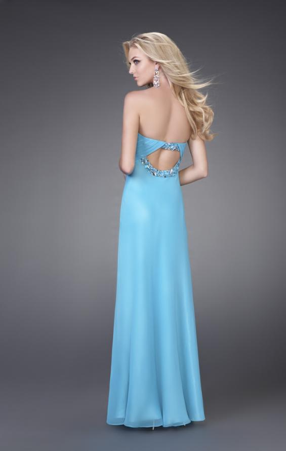 Picture of: Strapless Prom Gown with Cluster Beading and Cut Outs in Aqua, Style: 15081, Back Picture