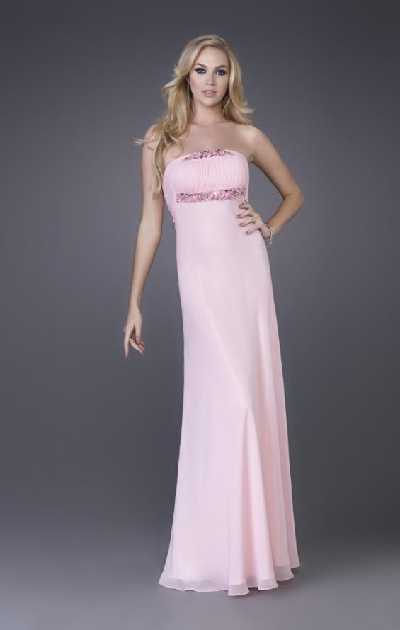Picture of: Strapless Prom Gown with Cluster Beading and Cut Outs in Pink, Style: 15081, Detail Picture 1