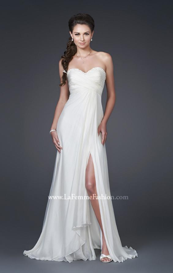 Picture of: Silk Gown with Ruched Bodice and Optional Slit, Style: 15100, Main Picture