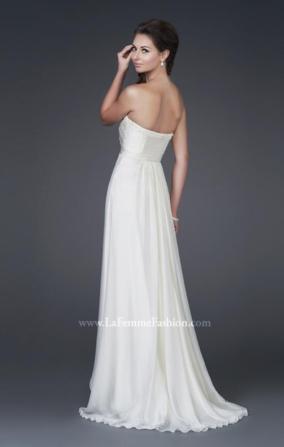 Picture of: Silk Gown with Ruched Bodice and Optional Slit, Style: 15100, Back Picture