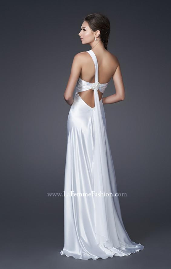Picture of: One Shoulder Satin Gown with Broach and Train, Style: 15102, Back Picture