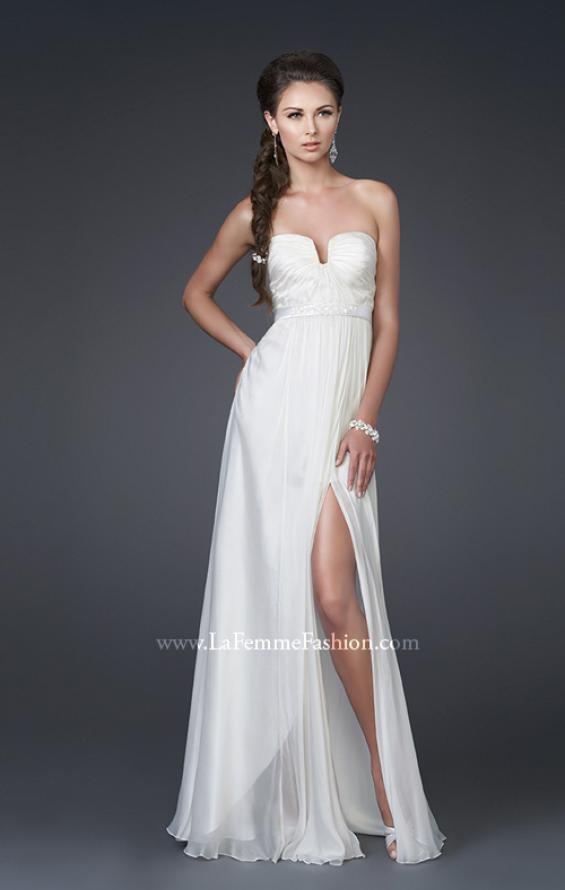 Picture of: Ruched Bodice A-line Gown with Belt and Broach, Style: 15128, Main Picture