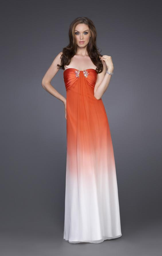 Picture of: Long Ombre A-line Strapless Dress with Cluster Beading in Orange, Style: 15144, Main Picture