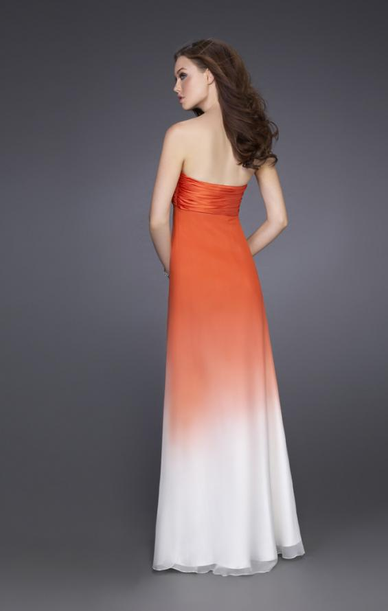 Picture of: Long Ombre A-line Strapless Dress with Cluster Beading in Orange, Style: 15144, Back Picture