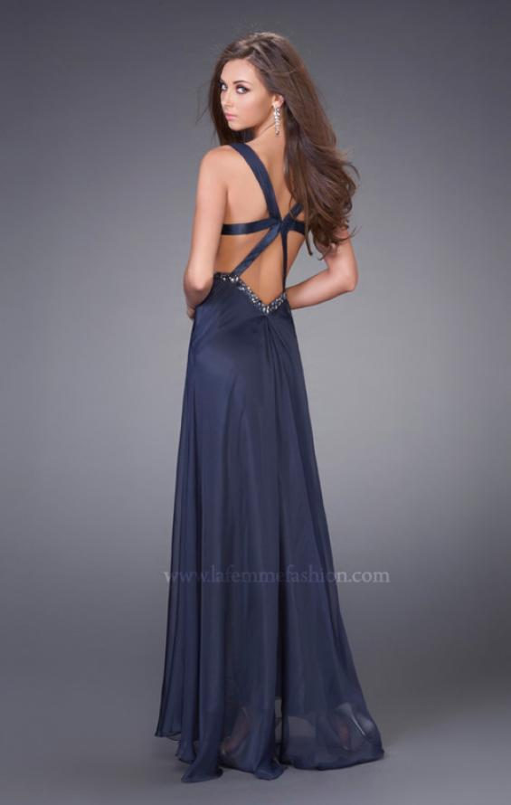 Picture of: Chiffon Dress with Twisted Bodice and Star Cut Out Back in Navy, Style: 15148, Back Picture