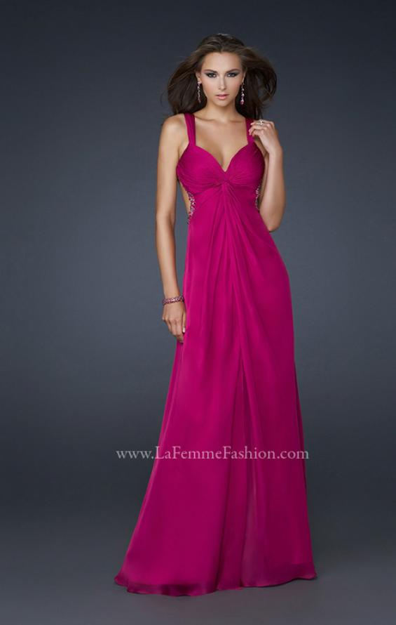 Picture of: Chiffon Dress with Twisted Bodice and Star Cut Out Back in Fucshia, Style: 15148, Detail Picture 1
