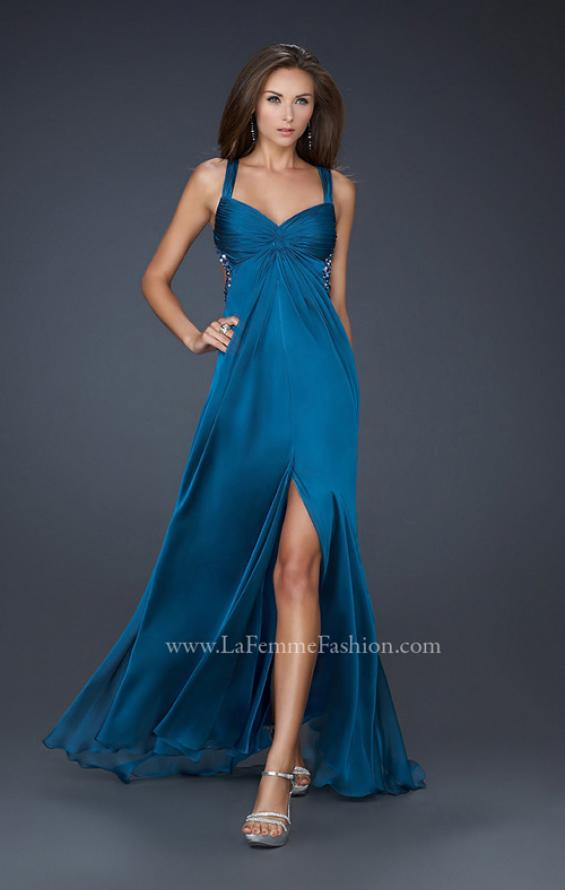 Picture of: Chiffon Dress with Twisted Bodice and Star Cut Out Back in Blue, Style: 15148, Detail Picture 3