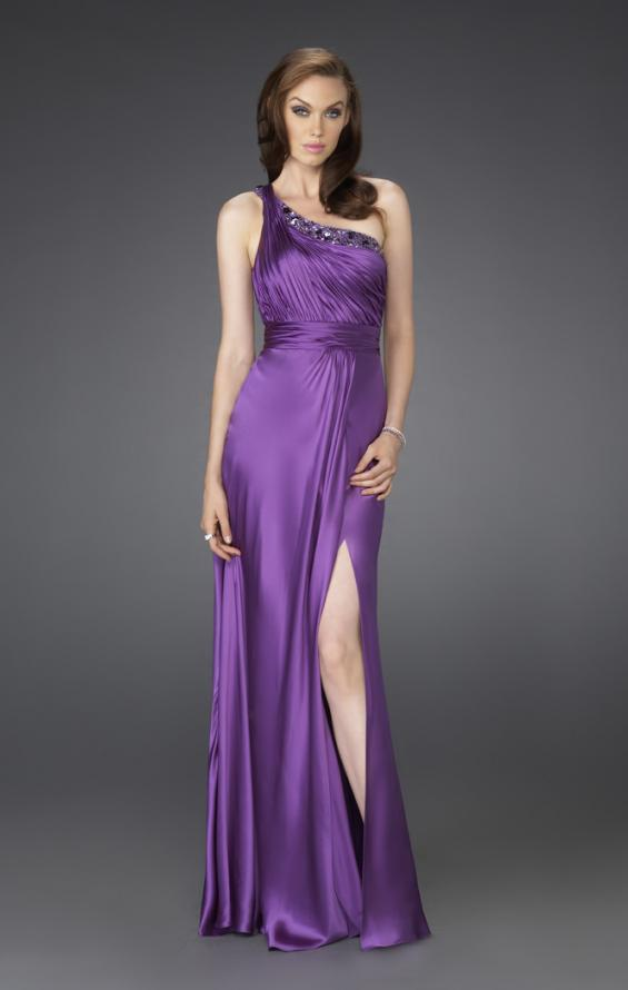 Picture of: One Shoulder Gown with Beading and Pleated Bodice in Purple, Style: 15158, Main Picture