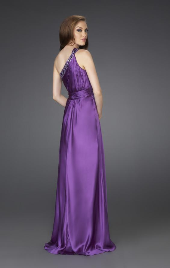 Picture of: One Shoulder Gown with Beading and Pleated Bodice in Purple, Style: 15158, Back Picture