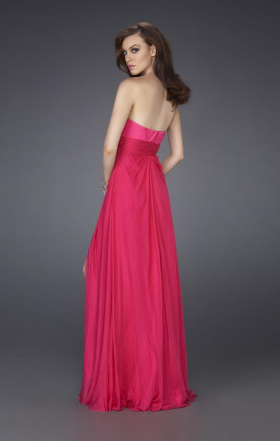 Picture of: Silk Prom Dress with Corset Bodice and Crystal Broach, Style: 15171, Back Picture