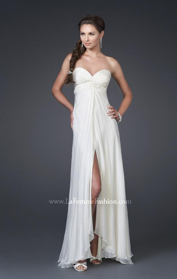 Picture of: Silk Gown with Beaded Empire Waist and Optional Slit, Style: 15174, Main Picture