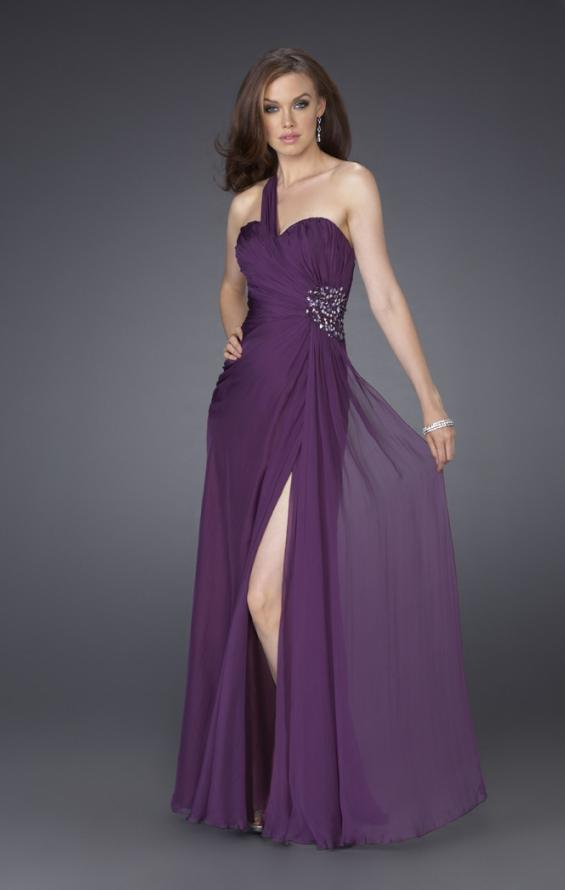 Picture of: One Shoulder Gown with Ruched Bodice and Beading in Purple, Style: 15247, Main Picture