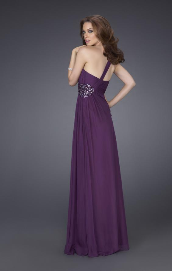 Picture of: One Shoulder Gown with Ruched Bodice and Beading in Purple, Style: 15247, Back Picture