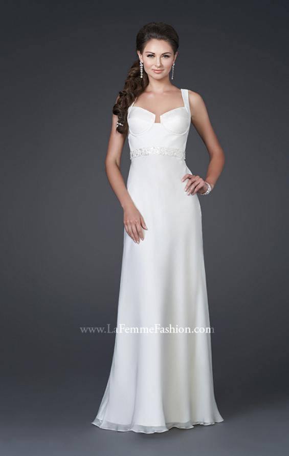 Picture of: Elegant Satin Gown with Corset Top and Beaded Waist in White, Style: 15283, Main Picture