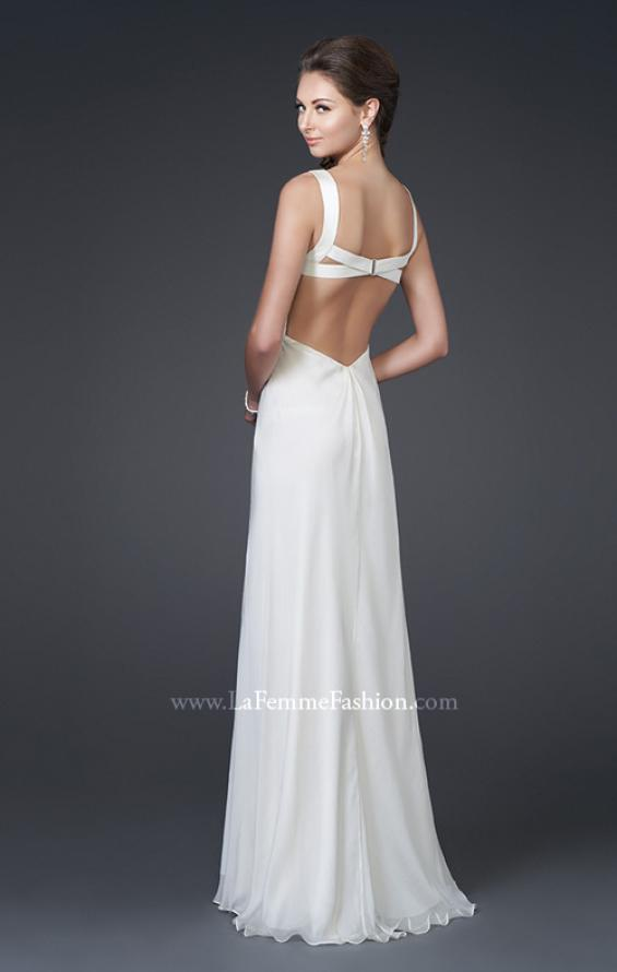 Picture of: Elegant Satin Gown with Corset Top and Beaded Waist in White, Style: 15283, Back Picture