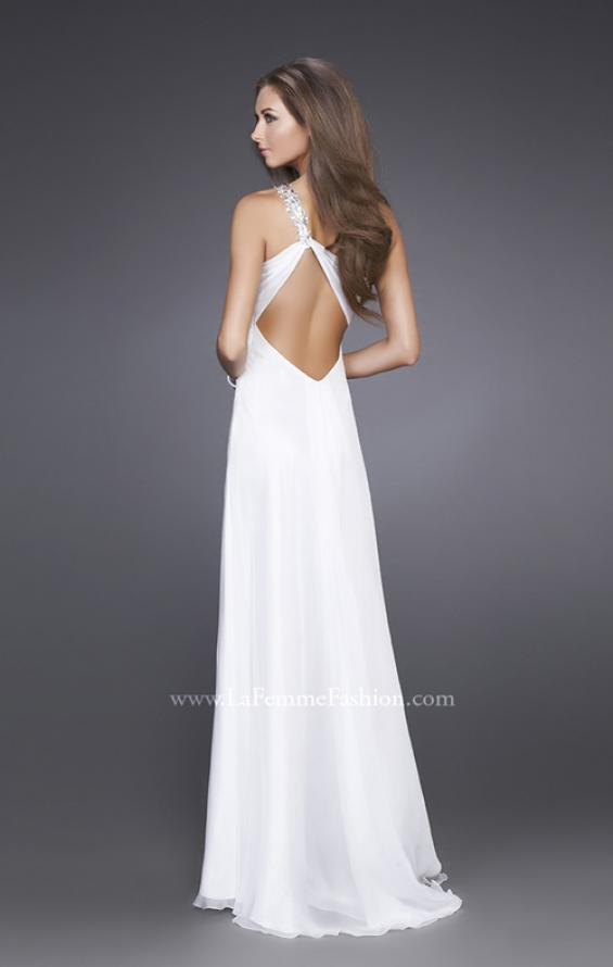 Picture of: Ruched Bust Gown with Floral Strap and Slit in White, Style: 15361, Back Picture