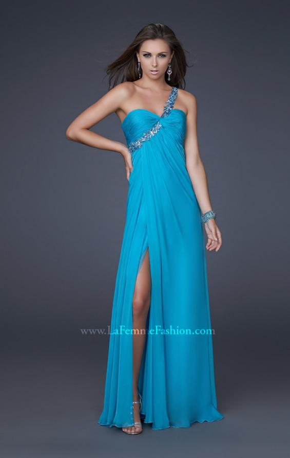 Picture of: Ruched Bust Gown with Floral Strap and Slit in Blue, Style: 15361, Detail Picture 1