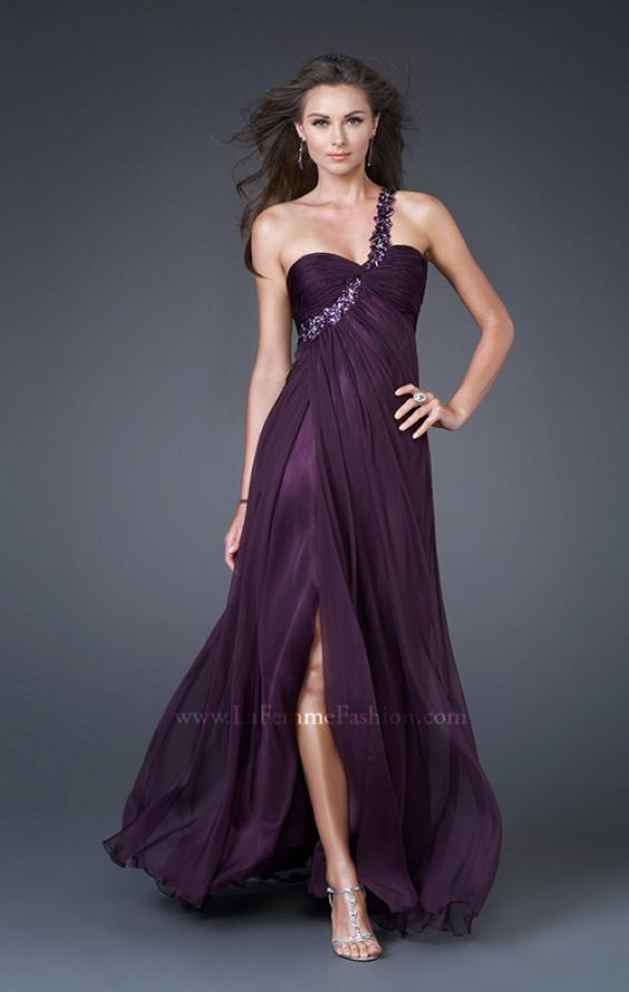 Picture of: Ruched Bust Gown with Floral Strap and Slit in Purple, Style: 15361, Detail Picture 2