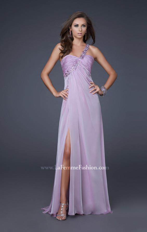 Picture of: Ruched Bust Gown with Floral Strap and Slit in Wisteria, Style: 15361, Detail Picture 3