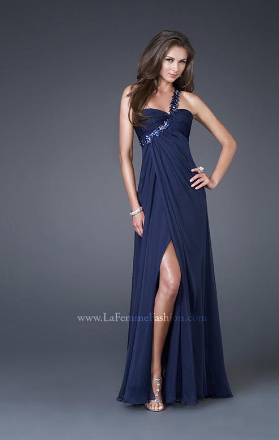 Picture of: Ruched Bust Gown with Floral Strap and Slit in Navy, Style: 15361, Detail Picture 4