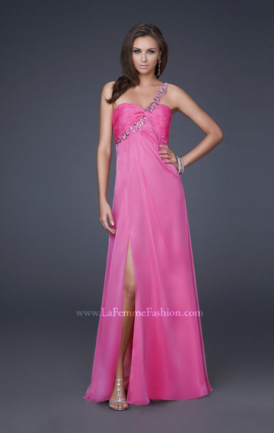 Picture of: Ruched Bust Gown with Floral Strap and Slit in Pink, Style: 15361, Detail Picture 5