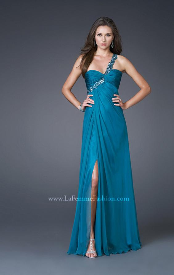 Picture of: Ruched Bust Gown with Floral Strap and Slit in Teal, Style: 15361, Detail Picture 6