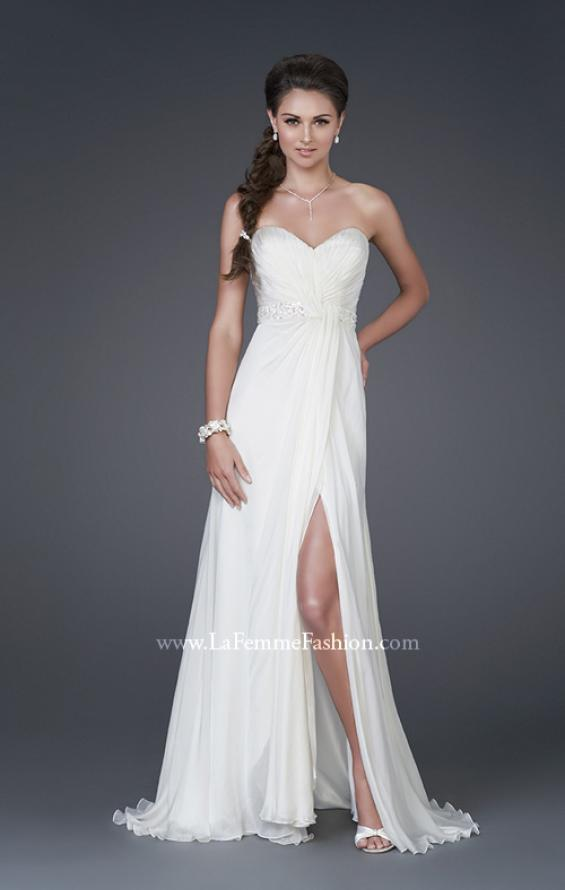 Picture of: Sweetheart Neckline with Ruched Bodice and Slit in White, Style: 15368, Main Picture
