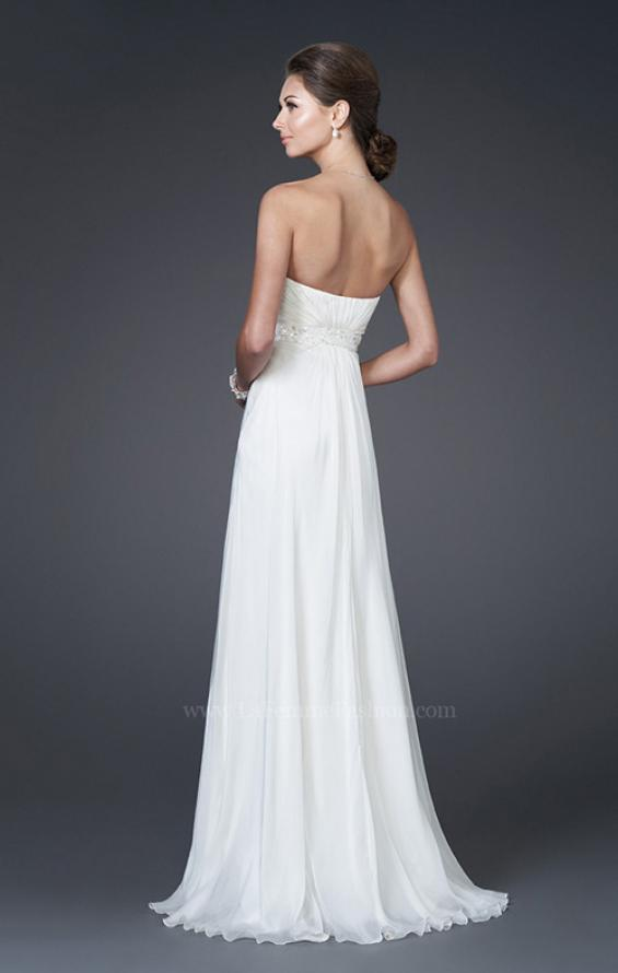 Picture of: Sweetheart Neckline with Ruched Bodice and Slit in White, Style: 15368, Back Picture