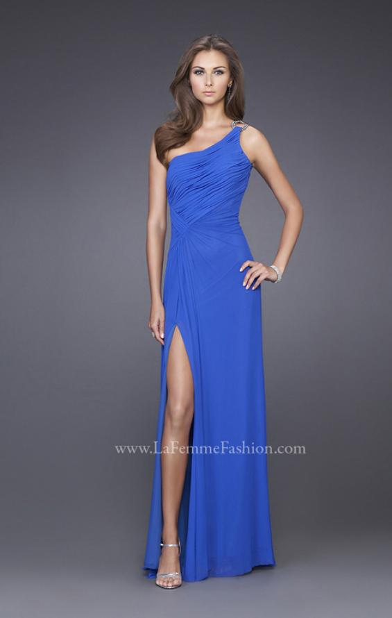 Picture of: One Shoulder Gown with Ruched Bodice and Slit in Blue, Style: 15417, Main Picture