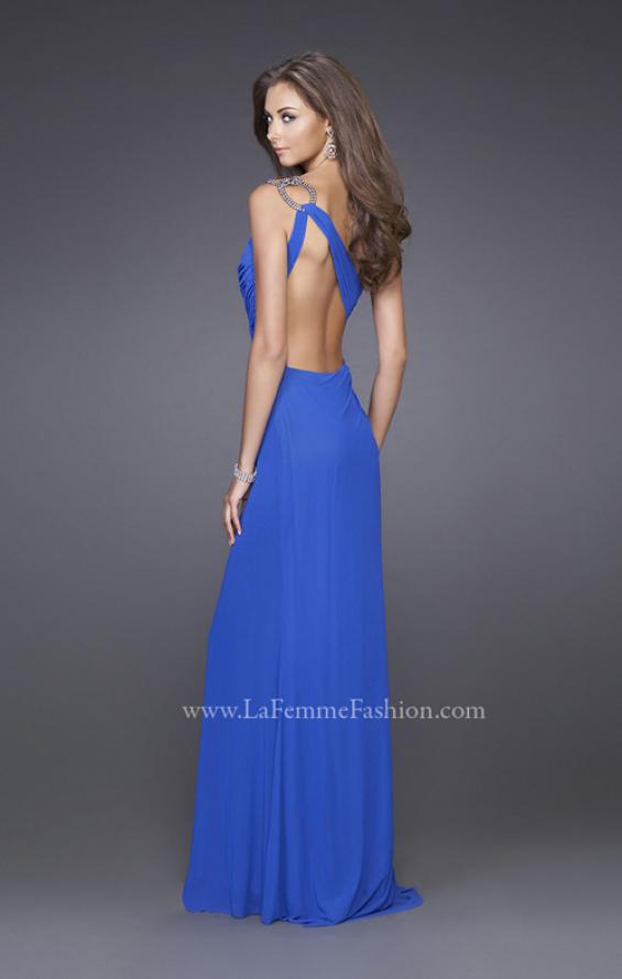 Picture of: One Shoulder Gown with Ruched Bodice and Slit in Blue, Style: 15417, Back Picture