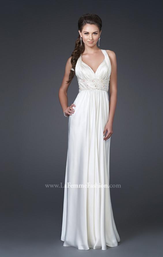 Picture of: V Neckline Gown with Pleated Bust and Beading, Style: 15418, Main Picture