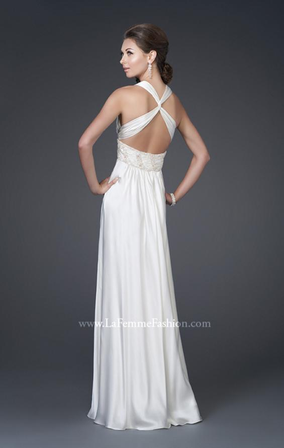 Picture of: V Neckline Gown with Pleated Bust and Beading, Style: 15418, Back Picture