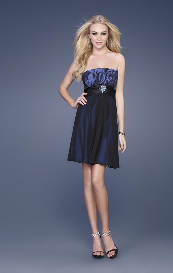 Picture of: Taffeta and Chiffon Short Gown with Beaded Broach in Navy, Style: 15506, Main Picture