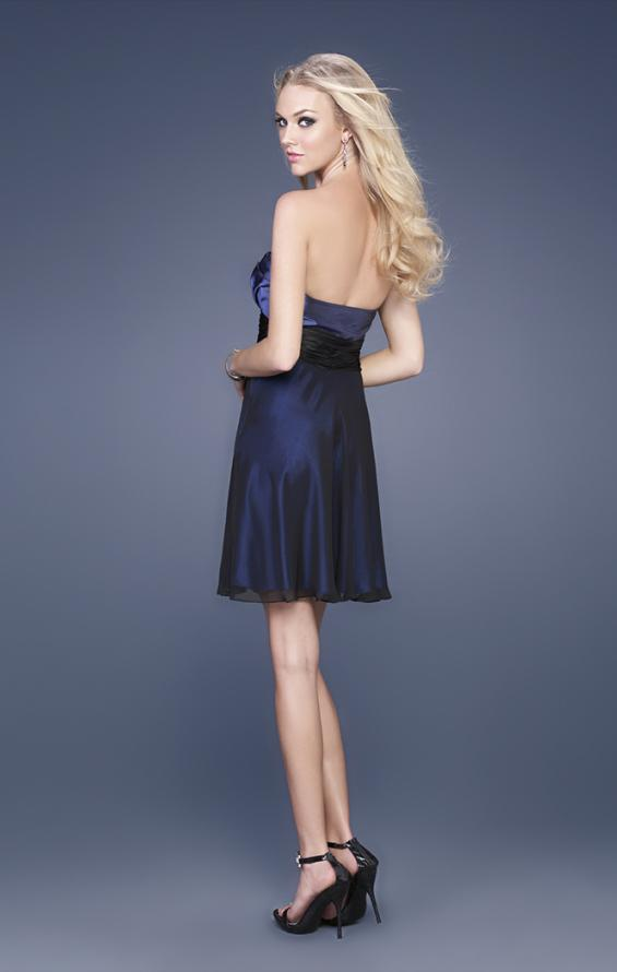 Picture of: Taffeta and Chiffon Short Gown with Beaded Broach in Navy, Style: 15506, Back Picture