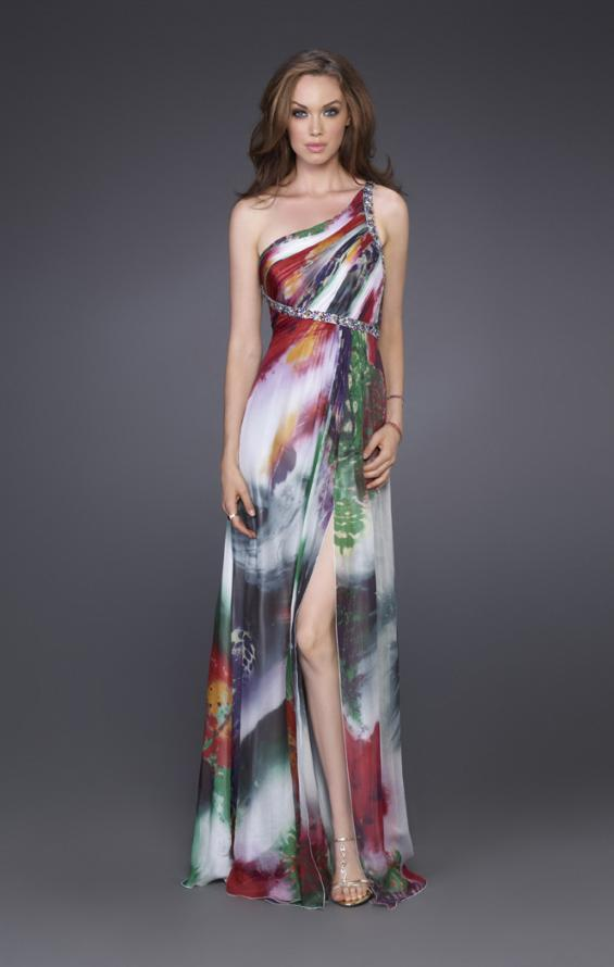 Picture of: Printed Silk Chiffon Dress with One Beaded Shoulder in Multi, Style: 15639, Main Picture