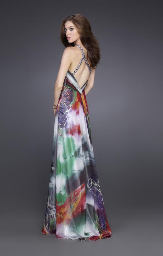 Picture of: Printed Silk Chiffon Dress with One Beaded Shoulder in Multi, Style: 15639, Back Picture