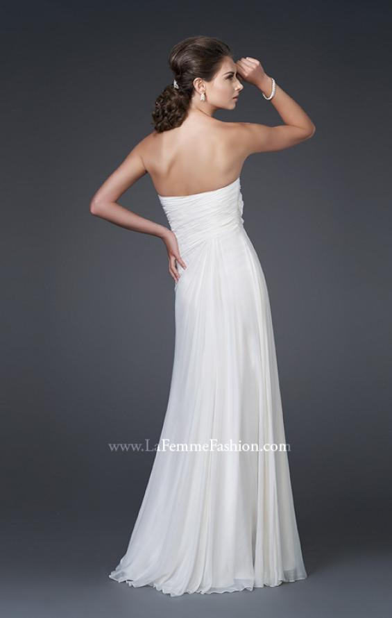 Picture of: Floral Embellished Silk Chiffon Gown with Ruching, Style: 15648, Back Picture